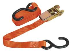 Sealey TD0845S - Ratchet Tie Down 25mm x 4.5mtr Polyester Webbing with S Hook 800kg Load Test